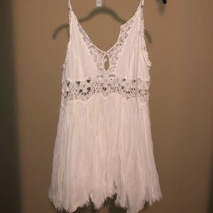 Small White Free People Linen Flouncy Beach Dress